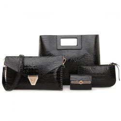 Stitching PU Leather Crocodile Embossed Handbag Set - BLACK