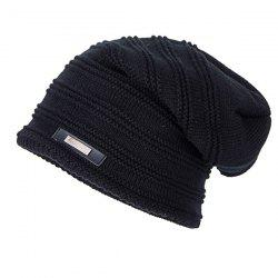 Horizontal Stripe Label Knitted Ski Hat - BLACK