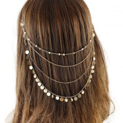 Discs Tassel Layered Head Chain -