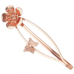 Butterfly Flower Alloy Barrette - ROSE GOLD