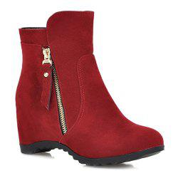 Zip Hidden Wedge Ankle Boots
