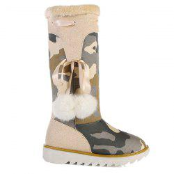 Camouflage Pattern Pompon Snow Boots