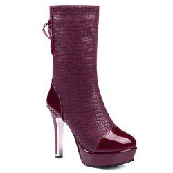 Platform Embossing Tie Up Short Boots - BURGUNDY
