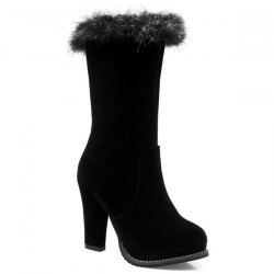 Zipper Faux Fur Mid Calf Boots