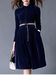 Mandarin Collar Velvet Skater Dress - DEEP BLUE