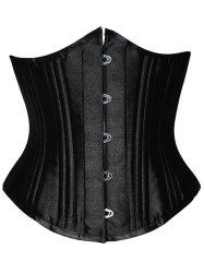 Lace Up Steel Boned Underbust Corset - BLACK
