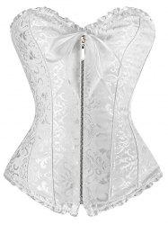 Zipper Criss Cross Underbust Bridal Corset Top - WHITE