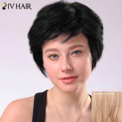 Ultrashort Layered Side Bang Straight Siv Human Hair Wig