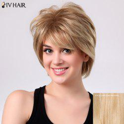 Short Shaggy Layered Side Bang Straight Siv Human Hair Wig - GOLDEN BROWN WITH BLONDE