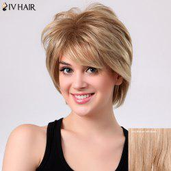 Short Shaggy Layered Side Bang Straight Siv Human Hair Wig - BROWN WITH BLONDE