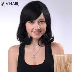 Short Bob Fluffy Side Bang Slightly Curled Siv Human Hair Wig