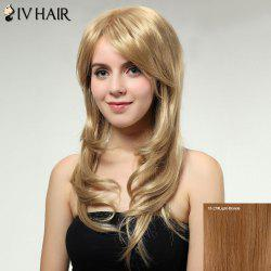 Long Layered Inclined Bang Shaggy Wavy Siv Human Hair Wig