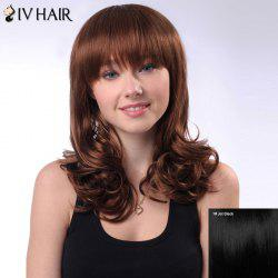 Long Layered Full Bang Shaggy Wavy Siv Human Hair Wig -