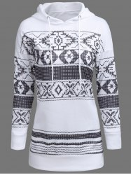 Drawstring Longline Graphic Hoodie - WHITE XL