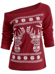 Christmas Fawn Printed Skew Neck T-Shirt -