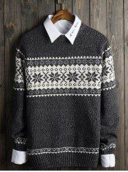 Crew Neck Snowflake Graphic Christmas Sweater - GRAY