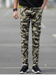 Slim Fit Camo Cargo Pants with Pockets -