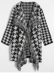Houndstooth Jacquard Drape Front Cardigan - WHITE AND BLACK ONE SIZE