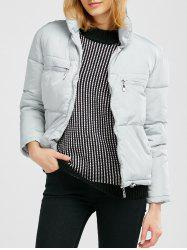 Stand Collar Zipper Padded Jacket - GRAY
