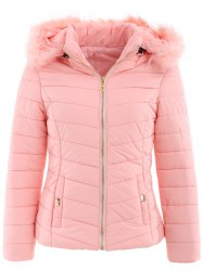Fur Trim Hooded Quilted Jacket