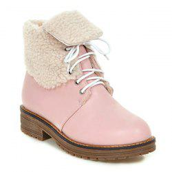Lace Up Faux Shearling Lined Fold Over Ankle Boots