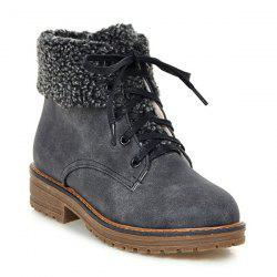 Faux Fur Trim Lace Up Ankle Boots - GRAY