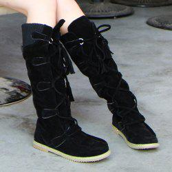 Tassels Suede Mid Calf Boots -
