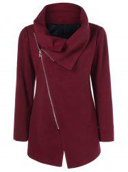 Asymmetrical Collared Zippered Coat - DARK RED