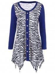 Plus Size Zebra Print Single Breasted Tee - BLUE 3XL