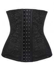 Three Hooks Lace Panel Corset - BLACK 2XL
