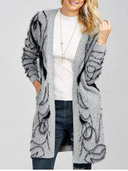 Longline Open Front Fuzzy Knit Cardigan - GRAY ONE SIZE