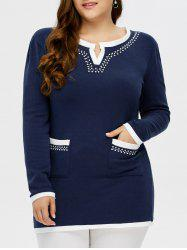 Plus Size Rhinestone Long Sleeve Top