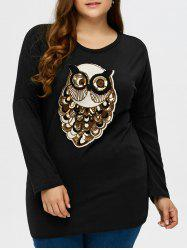 Plus Size Owl Pattern Long Sleeve Tee
