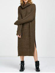 Cowl Neck Slit Midi Sweater Jumper Dress