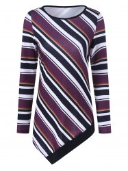 Colorful Striped Asymmetrical T-Shirt