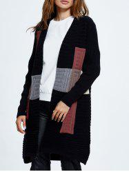 Long Sleeve Open Front Knit Cardigan with Collarless