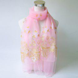 Breathable Glitter Powder Floral Pattern Lace Scarf - PINK