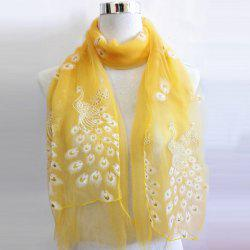 Breathable Peacock Shape Flocking Glitter Powder Lace Scarf -