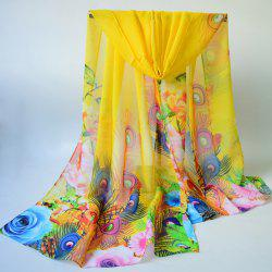 Breathable Peacock Feather and Floral Print Chiffon Scarf