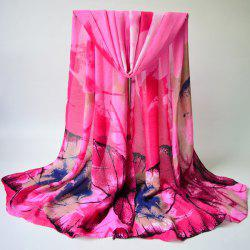 Breathable Autumn Maple Leaves Print Shawl Scarf - PINK