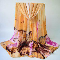 Breathable Autumn Maple Leaves Print Shawl Scarf