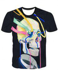 Fashion Pullover Color Strip Skull Printing T-Shirt For Men
