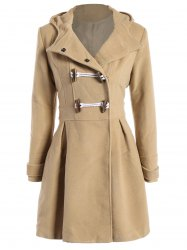 Skirted Hooded Long Wrap Duffle Coat