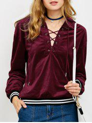 Striped Trim Lace-Up Hoodie -