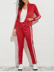 Zip Up Striped Running Jacket with Jogging Pants