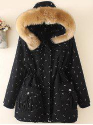 Plus Size Faux Fur Hooded Printed Parka -