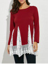 Scoop Neck Lace Panel Longline Tee