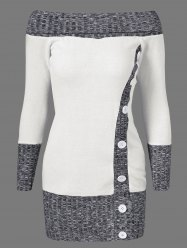 Knitted Off The Shoulder Fitted Jumper Dress - GREY AND WHITE