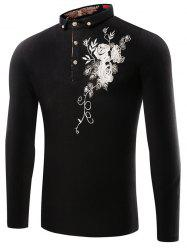 Buttoned Floral Embroidered Polo T-Shirt - BLACK