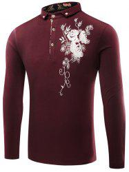 Buttoned Floral Embroidered Polo T-Shirt